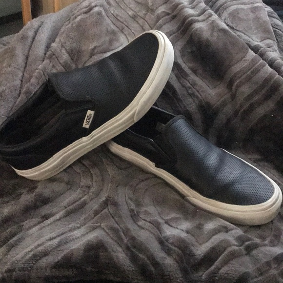 Black vans slip on leather Pacsun 9d85d3ab687b